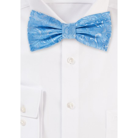 Paisley Bow Tie in Blue Jay Blue