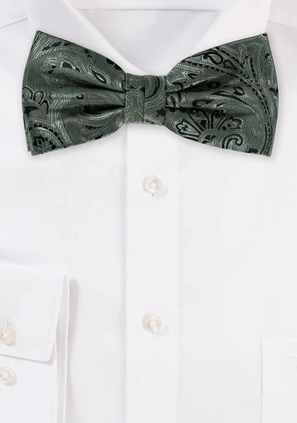 Moss Green Paisley Bow Tie