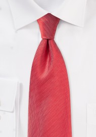 Bright Red Herringbone Textured Tie