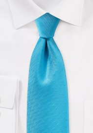 Cyan Blue Herringbone Textured Tie