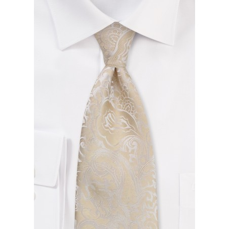 Kids Paisley Tie in Champagne