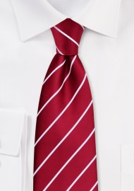 Kids Necktie in Cherry Red with Narrow White Stripes