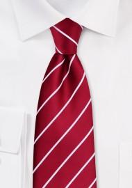 Striped Cherry Red Tie in XL Size