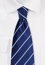 Blue Silk Ties - Navy blue striped necktie
