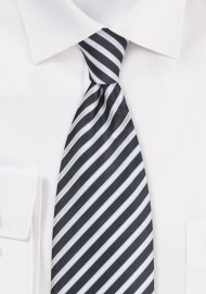 Striped Necktie in Pewter Gray and White