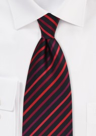 Red and Black Striped Tie
