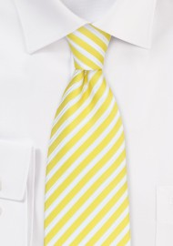 Bright Yellow and White Striped Tie