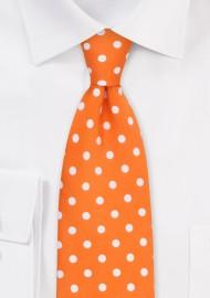 Polka Dot Tie in Firecracker Orange