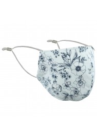 Floral Sketch Filter Mask in White and Ink Blue
