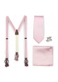 Wedding Suspender and Necktie Set in Soft Pink
