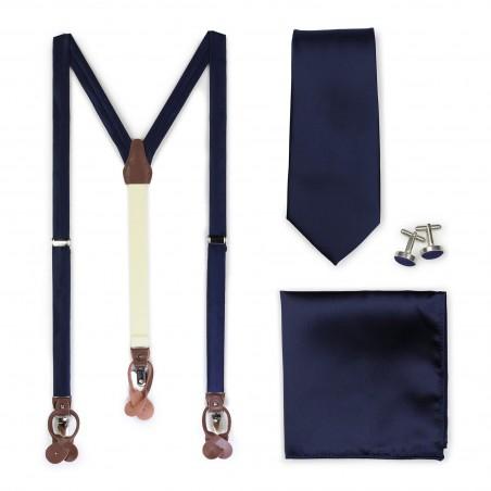Wedding Suspender and Necktie Set in Navy