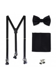 Formal Black Suspender and Bowtie Set