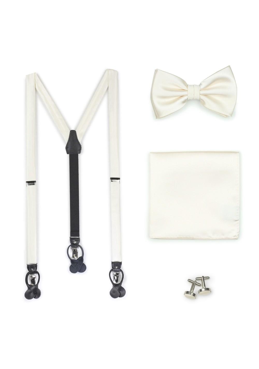 Wedding Suspender Bowtie Set in Ivory Cream
