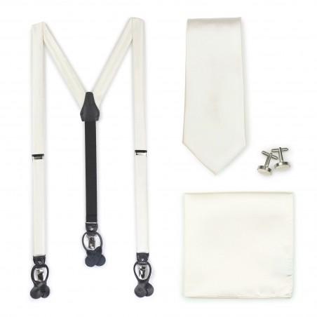 Cream Wedding Suspender and Necktie Set