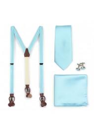 Pool Blue Dress Suspender and Necktie Set