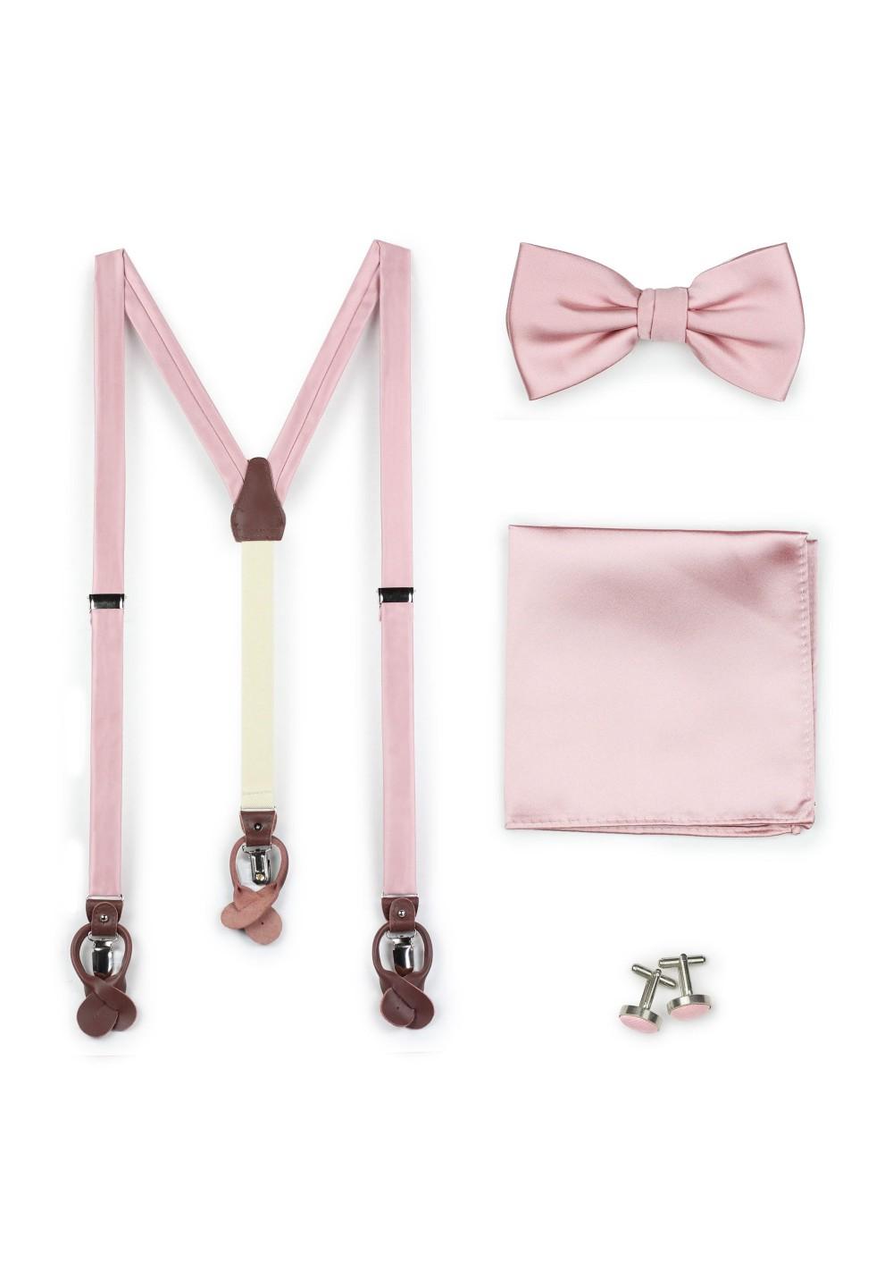 Soft Pink Bowtie and Suspender Set
