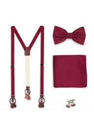 Burgundy Suspender and Bowtie Set
