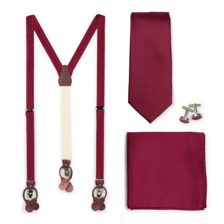 Dress Suspender and Necktie Set in Burgundy
