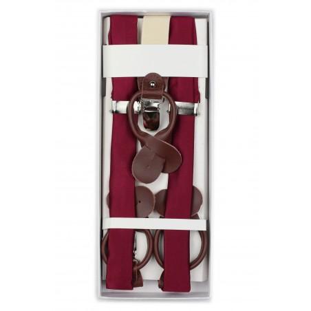 Dress Burgundy Suspenders in Box