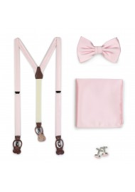Solid Blush Suspender and Bowtie Set