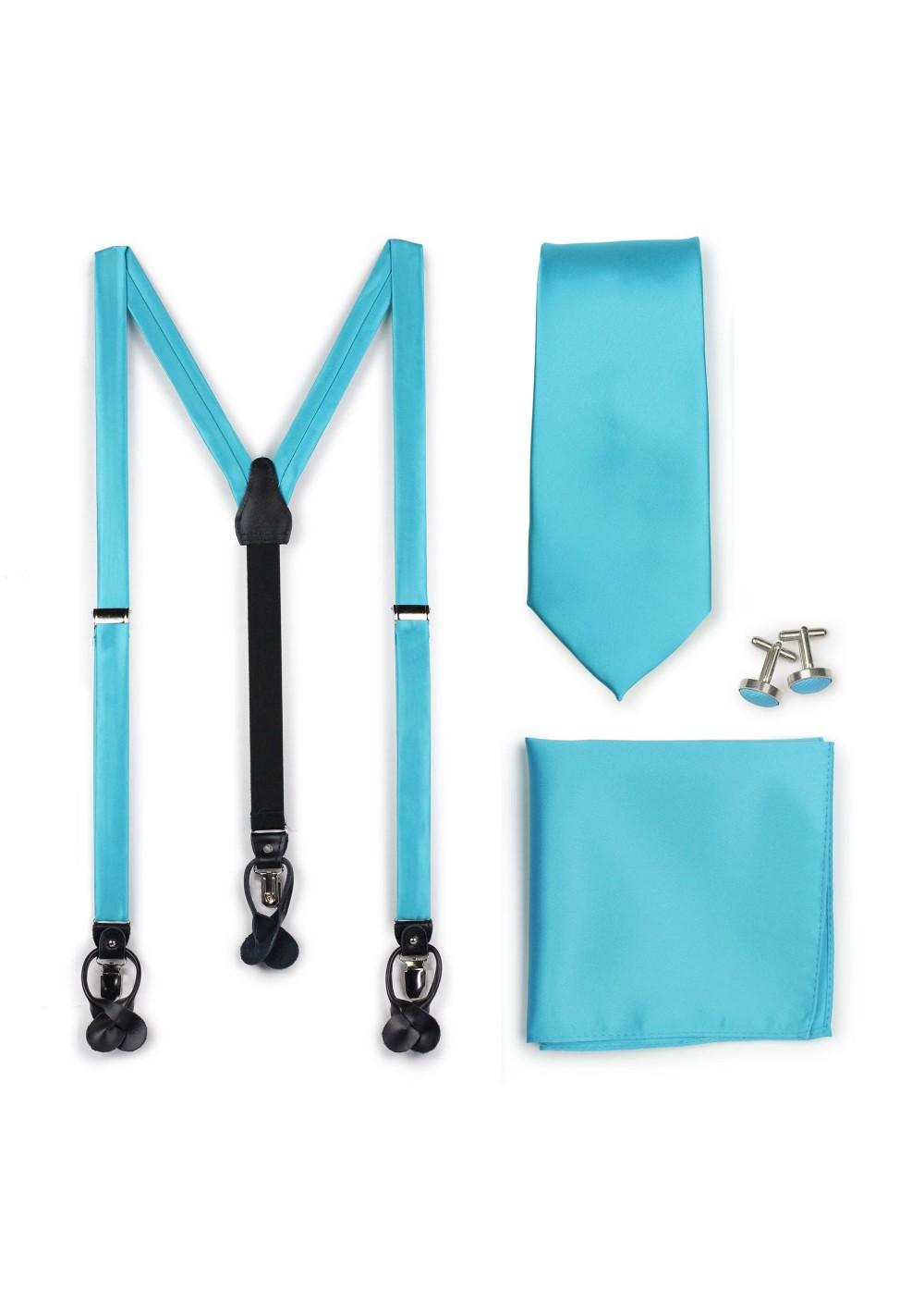 Bold Aqua Suspenders and Necktie Combo Set