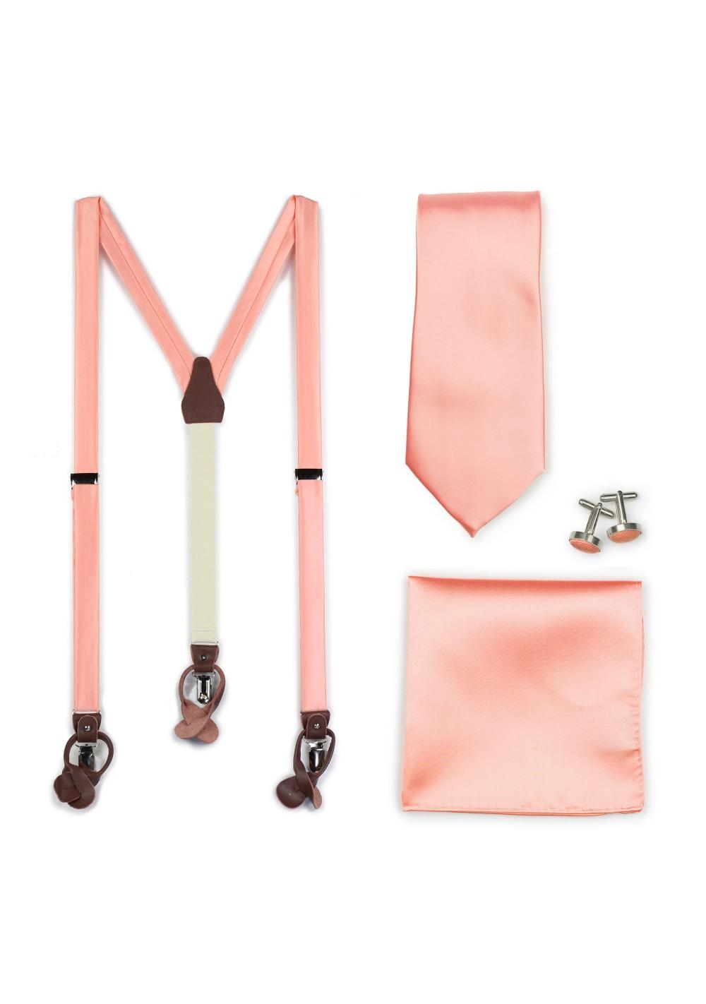 Tropical Peach Wedding Suspender and Necktie Set