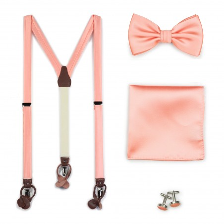 Tropical Peach Wedding Suspender and Bow Tie Set