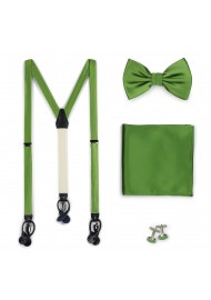 Clover Green Wedding Suspender and Bow Tie Set