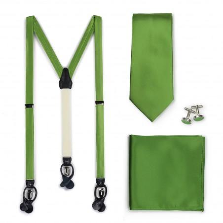 Dress Suspenders and Necktie Set in Clover Green