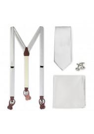 Formal Light Silver Suspender and Necktie Set