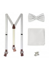 Light Silver Suspender and Bow Tie Accessory Set