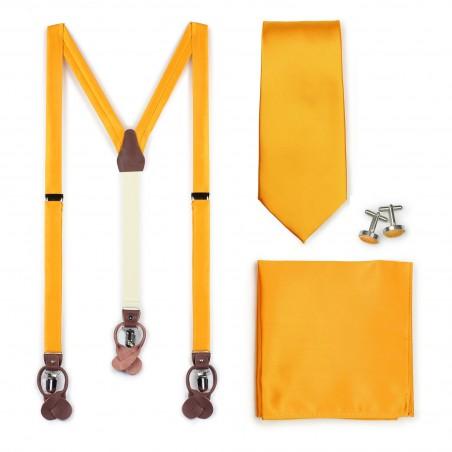 Golden Saffron Suspender and Necktie Set