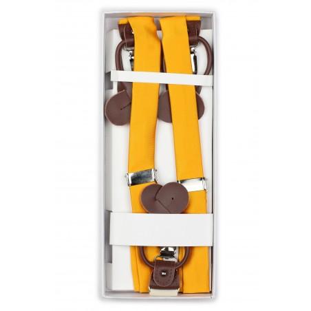 Golden Saffron Suspenders in Box