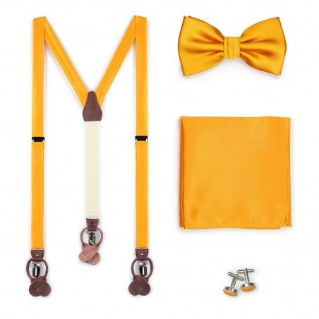 Golden Saffron Bow Tie and Suspender Set
