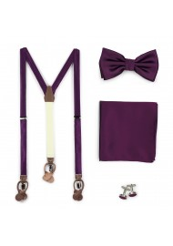 Bright Purple Suspenders and Necktie Set