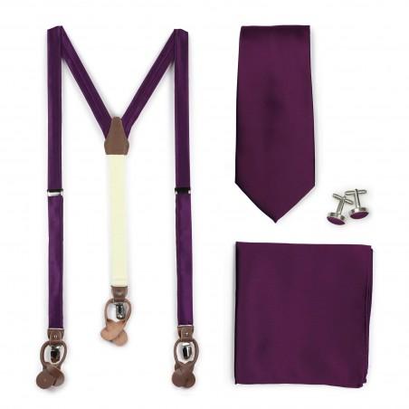 Bright Purple Suspender Necktie Set
