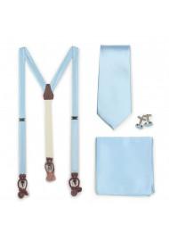 Formal Suspender Set in Powder Blue