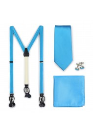 Dress Suspender and Tie Set in Cyan Blue