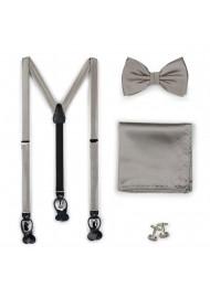 Elegant Silver Gray Suspenders Bow Tie Set