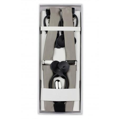 Elegant Silver Gray Suspenders in Box