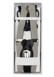 Elegant Silver Suspenders in Box