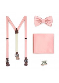 Candy Pink Suspender and Bow Tie Set