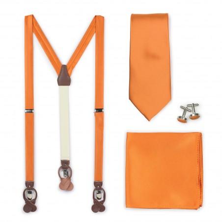 Persimmon Orange Suspender and Tie Set
