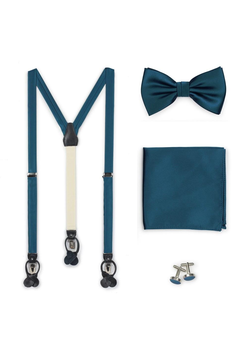 Suspender Bow Tie Gift Set in Teal Blue