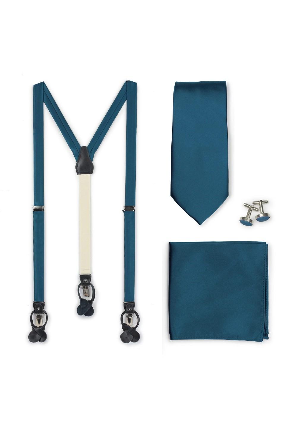 Teal Blue Suspender Necktie Set