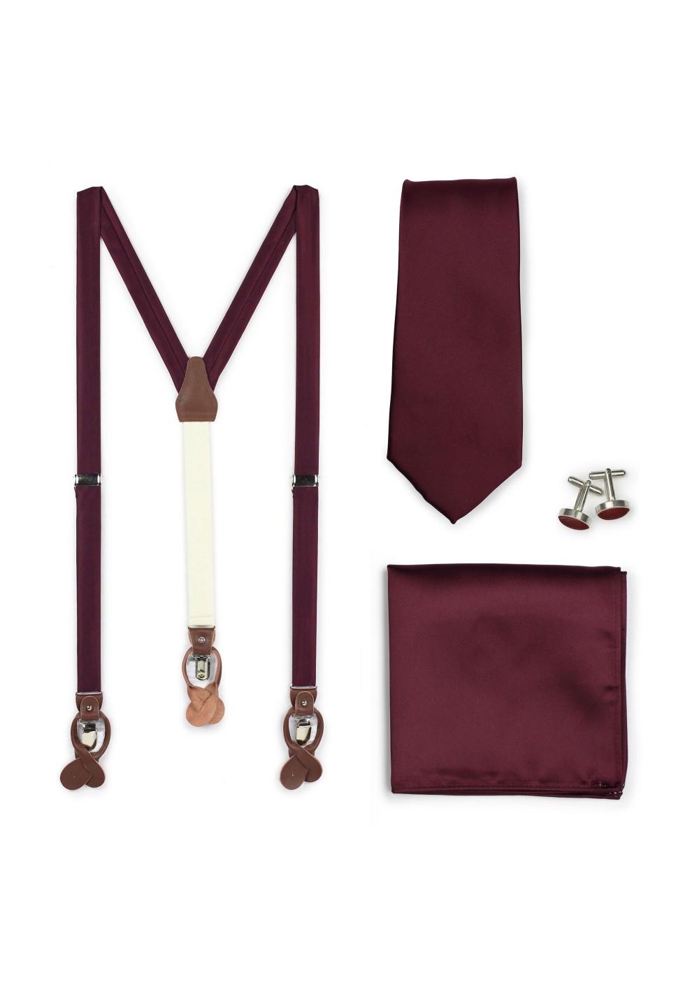 Plum Suspender and Mens Necktie Set