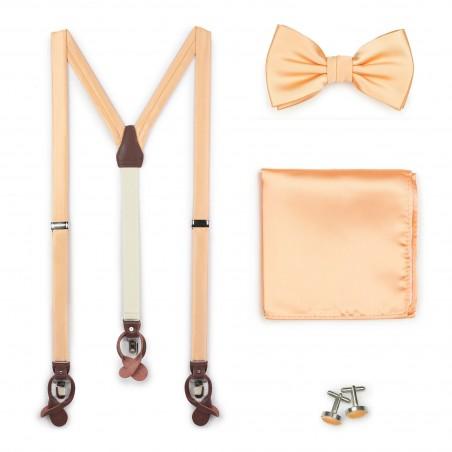 Peach Apricot Suspender Bow Tie Set