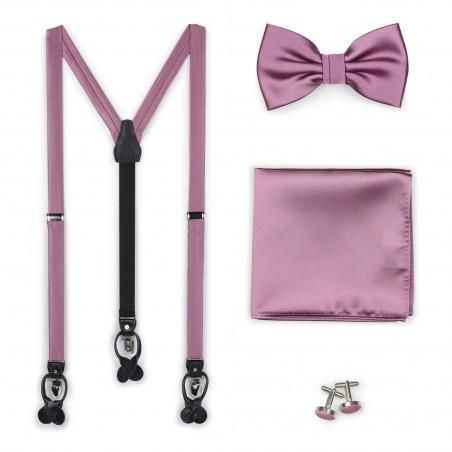 Suspender Bowtie Set in Rose