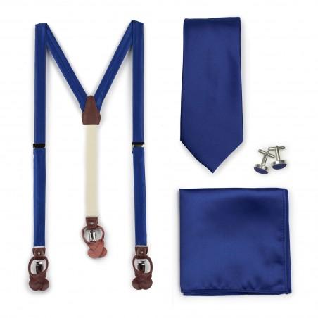 Royal Blue Mens Necktie and Suspender Combo Set