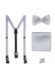 Silver Satin Bow Tie and Suspender Set